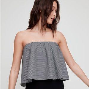 Aritzia black and white gingham strapless blouse.